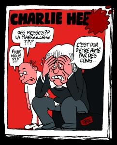 """En esta viñeta de Jean Bourguignon (JBGG) vemos a uno de los dibujantes de Hebdo asesinado preguntars: """"¿Masas?¿Marsellesa?¿Por nosotros?"""", a lo que, pesaroso, responde el compañero """"Es duro ser amado por los contrarios""""."""