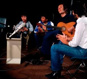 Camarón, Paco de Lucía y  Tomatito durante la grabación de Potro de Rabia y miel
